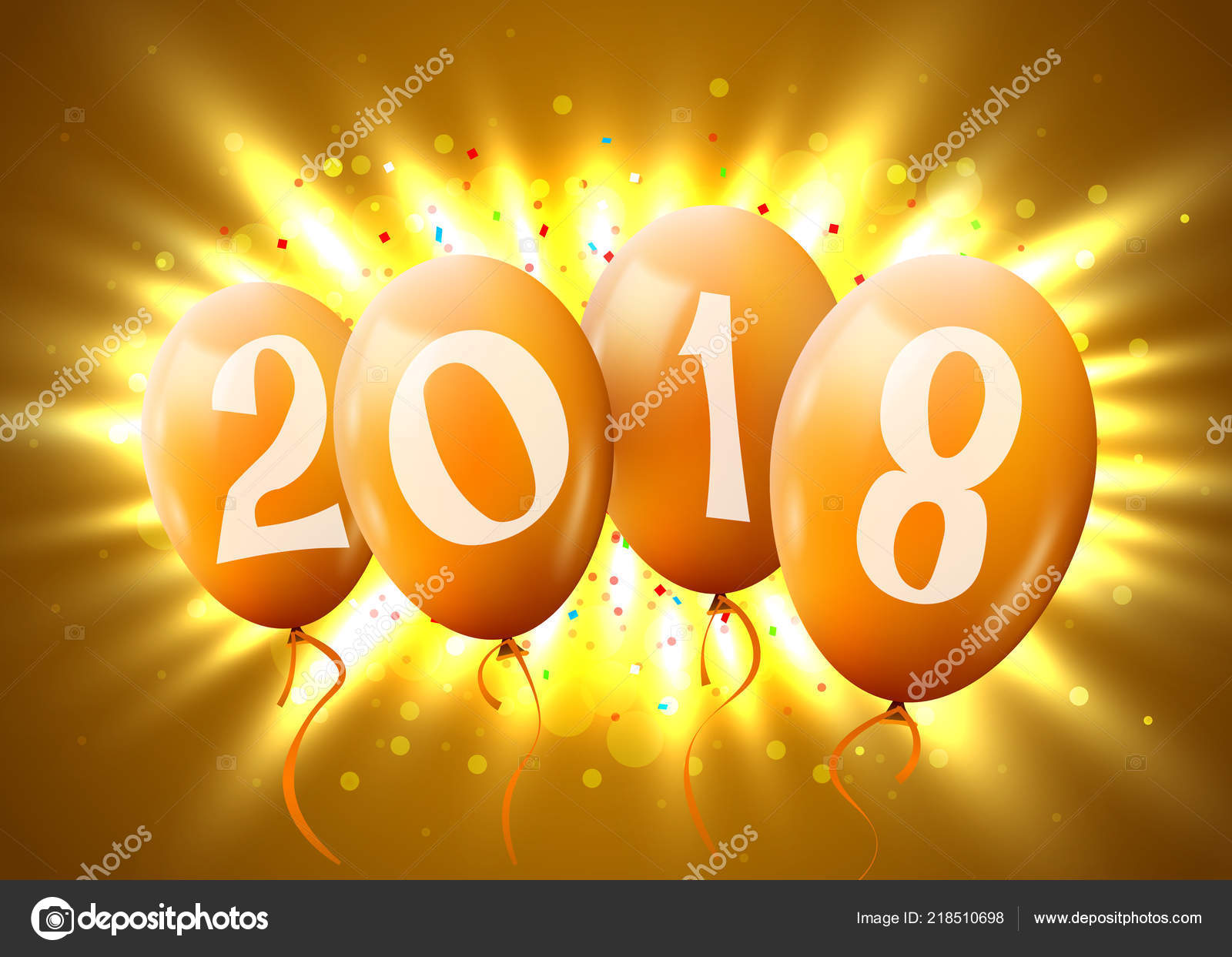 greeting card 2018 christmas or new year card with realistic golden balloons and numbers on yellow