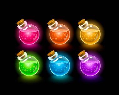 Magic Flasks color set, dark background. Vector