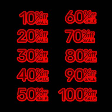 Sticker red banner, collection off with share discount percentage.