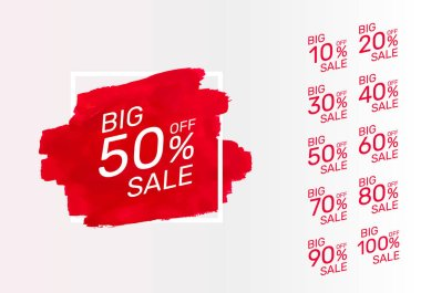 Paint red banner, collection off with share discount percentage.