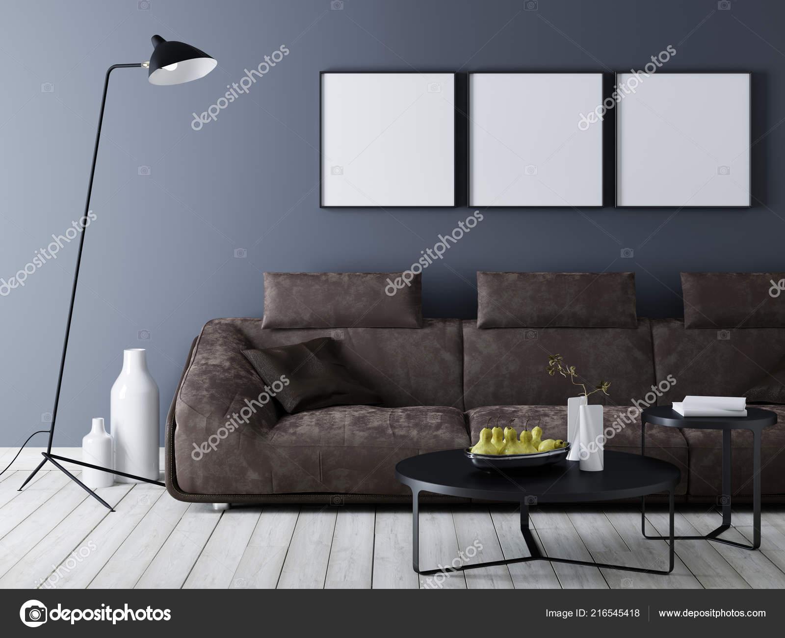 Interni Moderni Con Poster Mockup Sul Muro Divano Pelle ...
