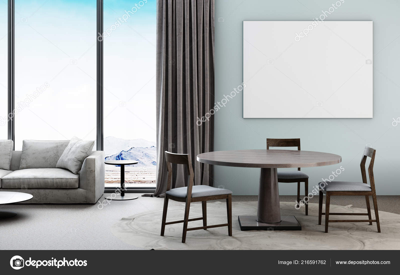 Beautiful Living Room Interior Mockup Poster Dining New Contemporary