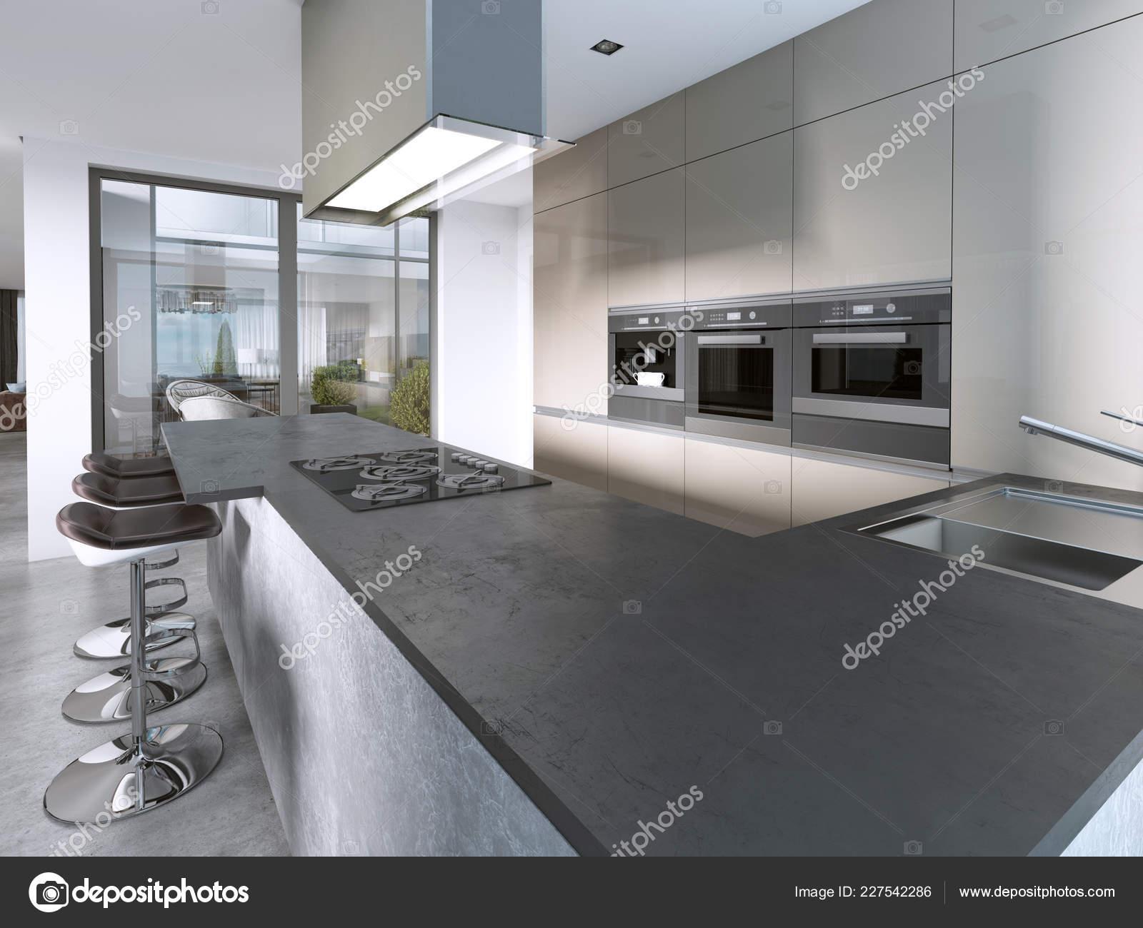 Contemporary Kitchen Large Windows Island Bar Stools
