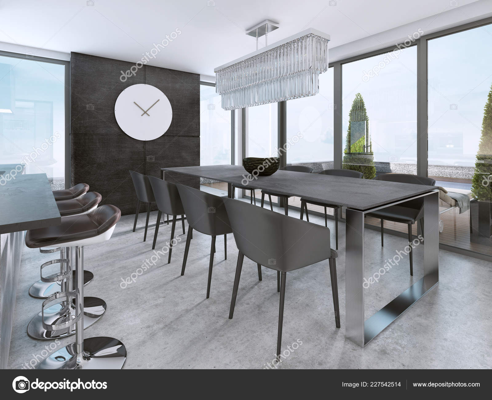 Large Modern Dining Table Contemporary Kitchen Rendering ...