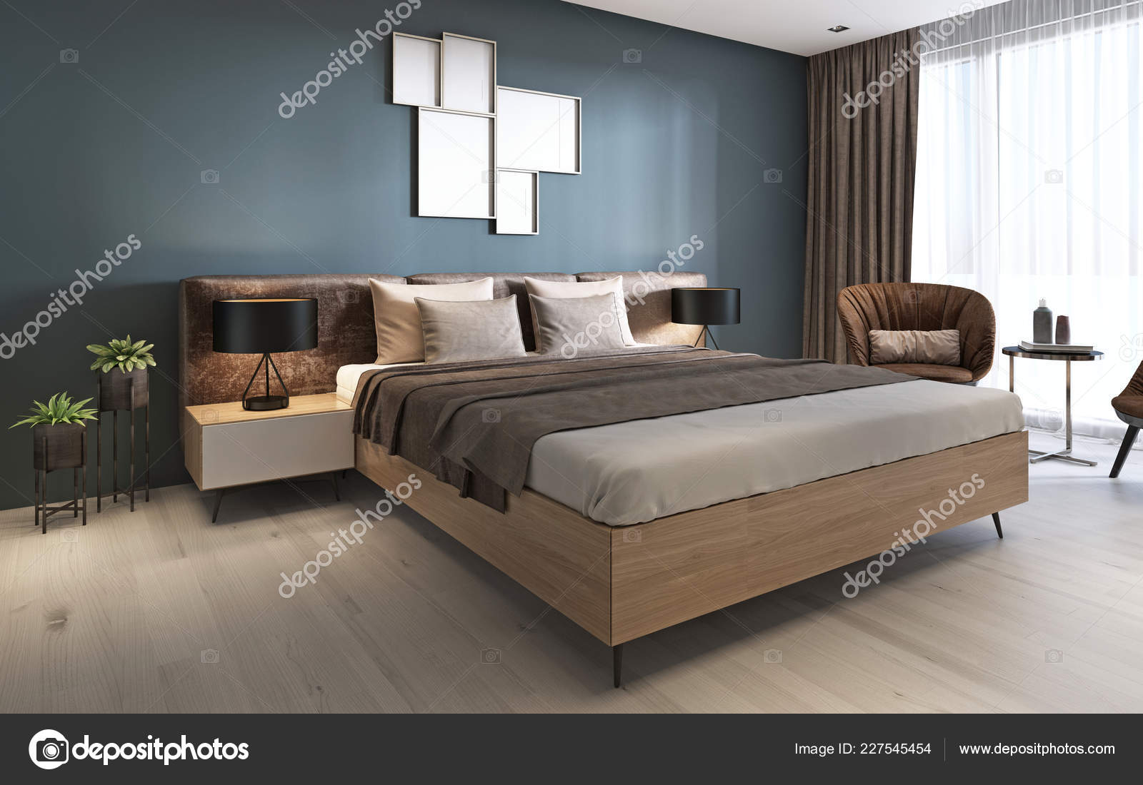 Contemporary Bedroom Dark Blue Walls Light Furniture Two Brown
