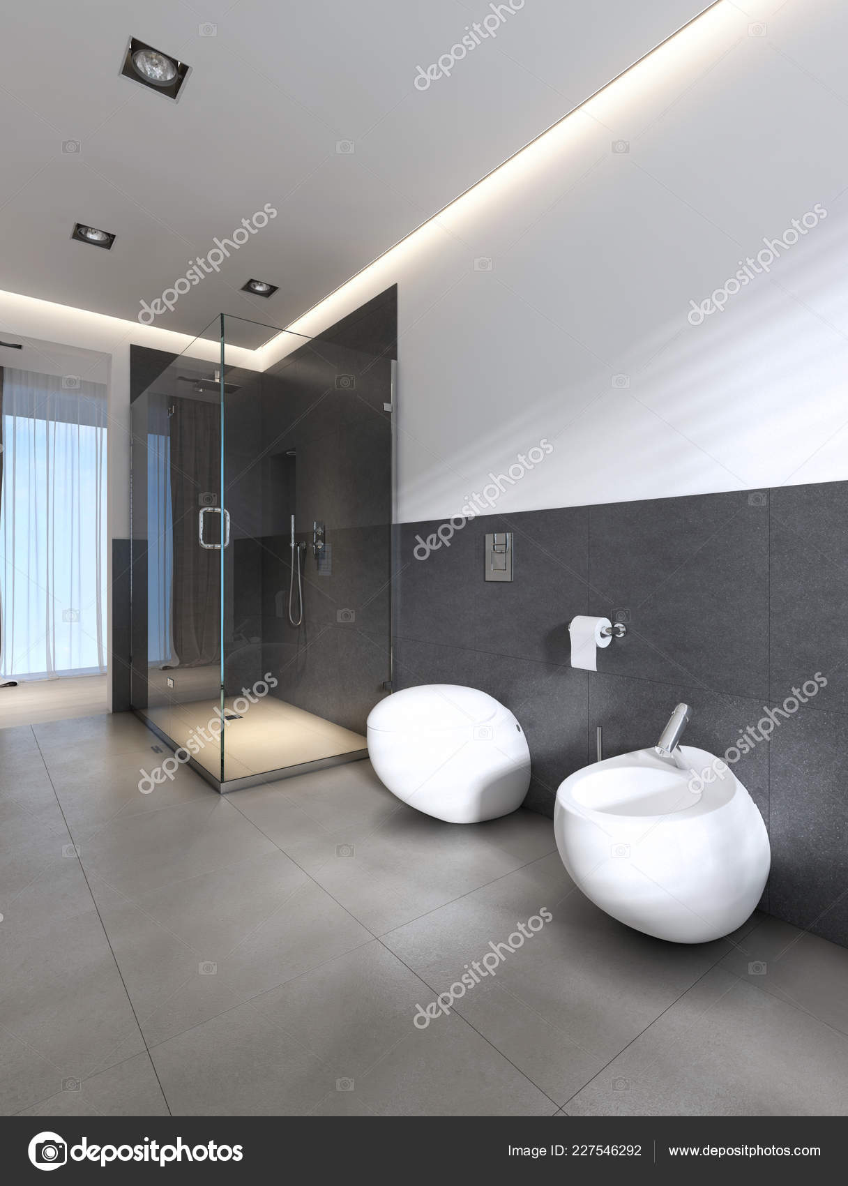 Contemporary Bathroom Shower Bath White Gray Colors