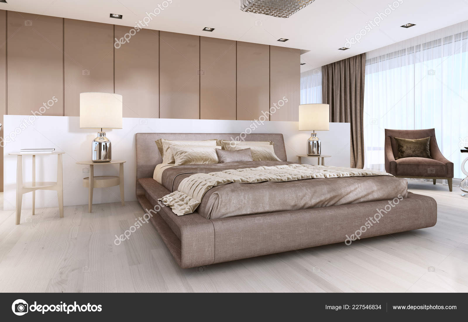 Large Bed Modern Style Bedside Tables Lamps Rendering Stock Photo C Kuprin33 227546834