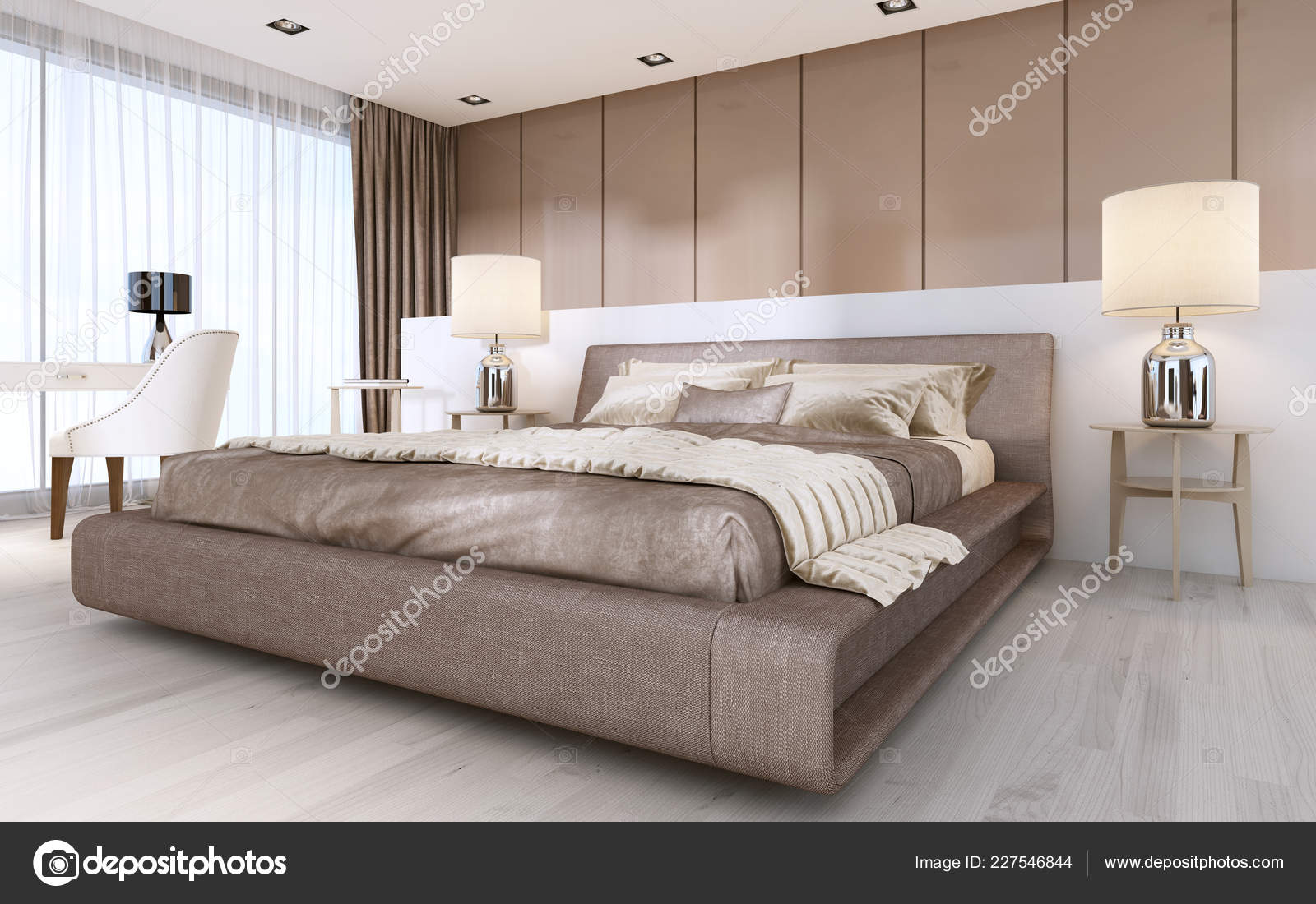Large Bed Modern Style Bedside Tables Lamps Rendering Stock Photo Image By C Kuprin33 227546844