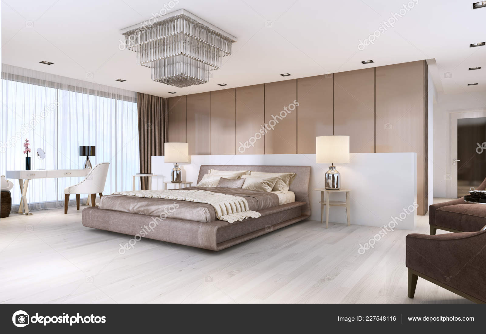 Luxurious Modern Master Bedroom Light Colors Pastel Colors ...