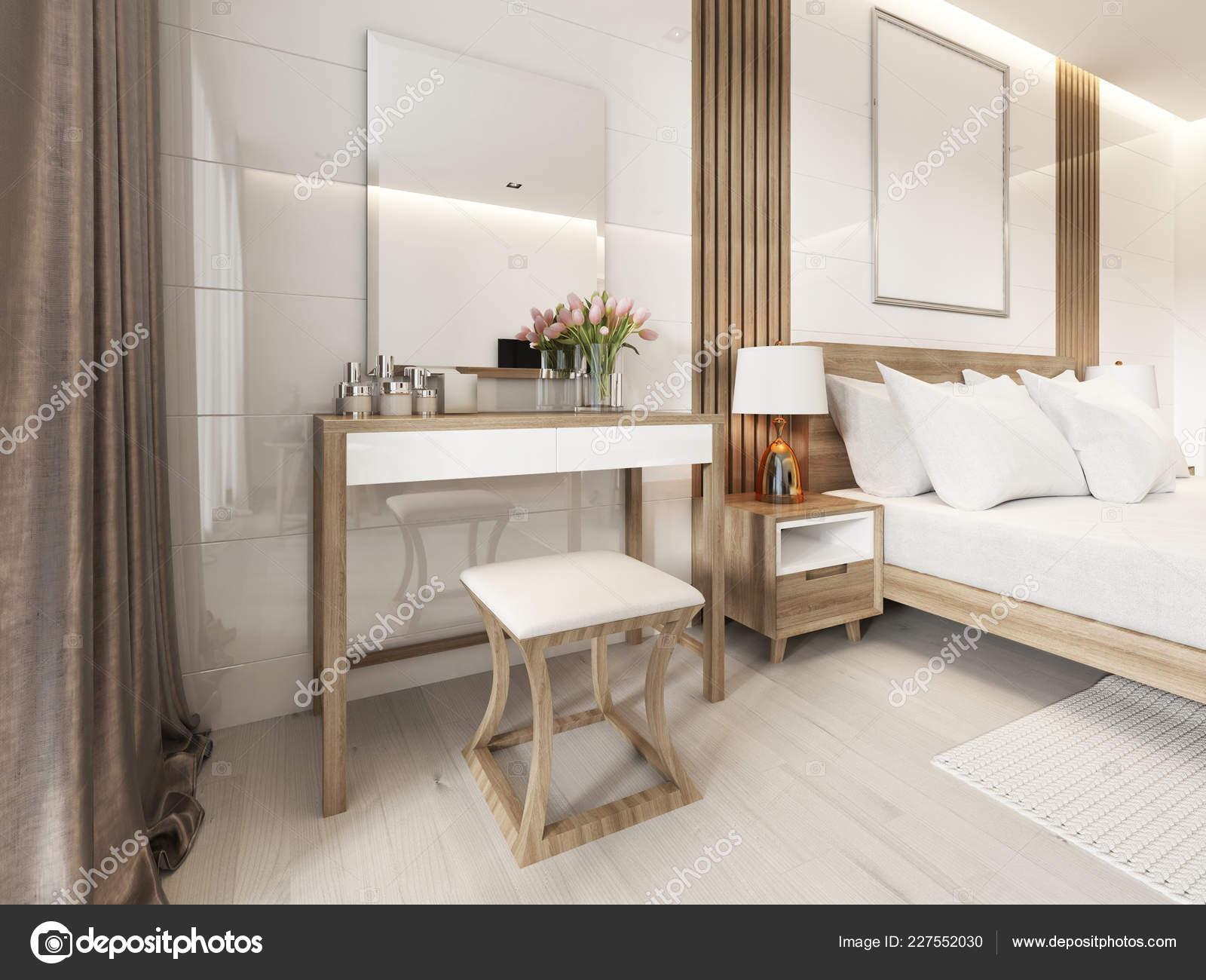 Coiffeuse Miroir Chambre Coucher Style Scandinave Rendu ...