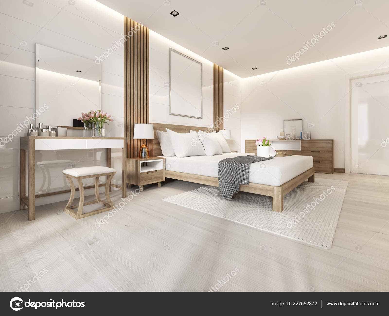 Modern Light Bedroom Wooden Furniture Scandinavian Style Rendering Stock Photo Image By C Kuprin33 227552372