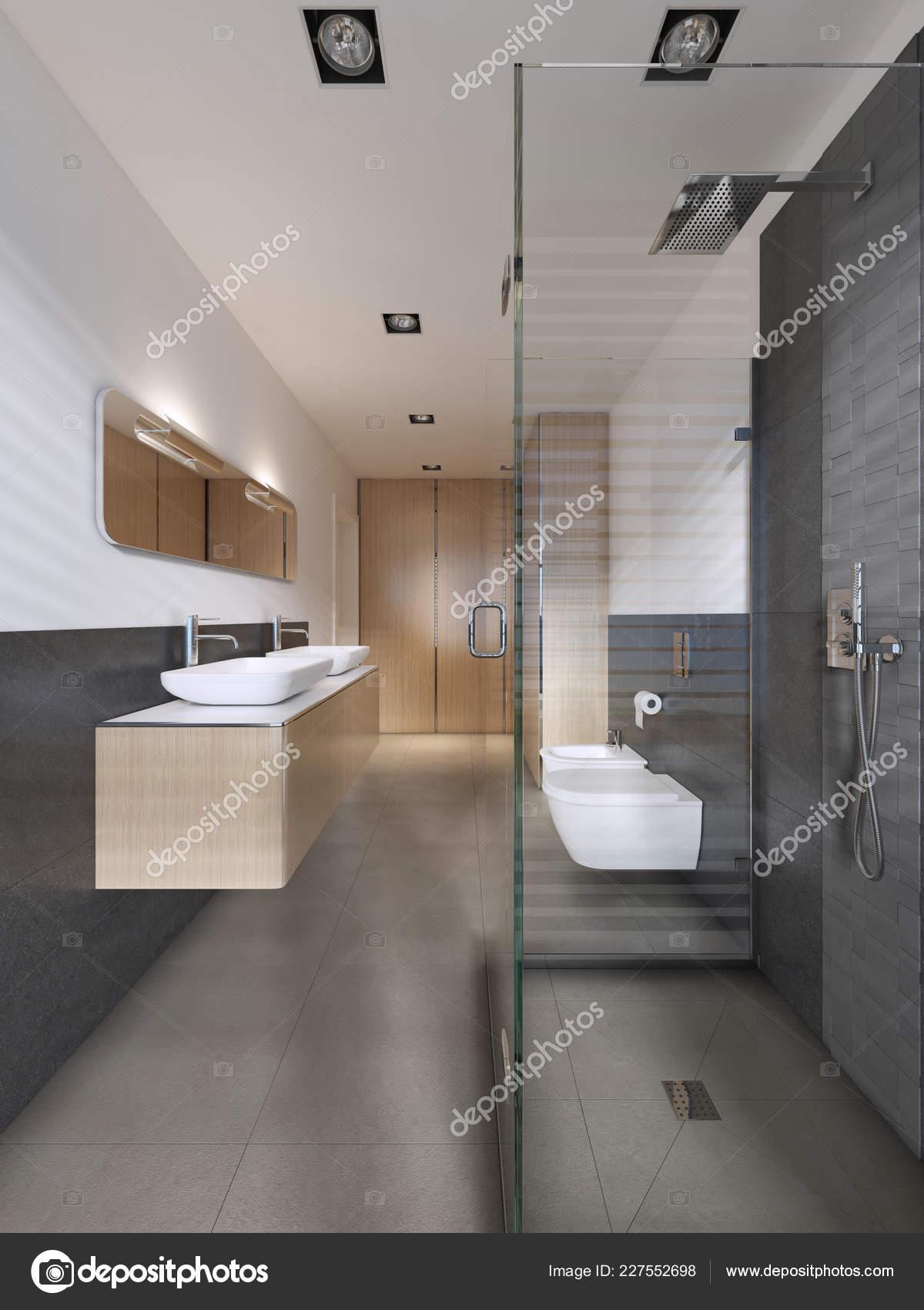 Badezimmer Skandinavischen Stil Mit Holzmöbeln Eingerichtet ...
