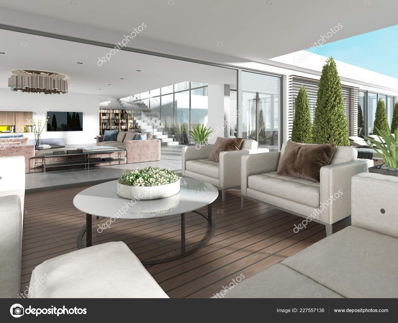 Terrasse Couverte Avec Mobilier Moderne Pots Fleurs Rendu ...