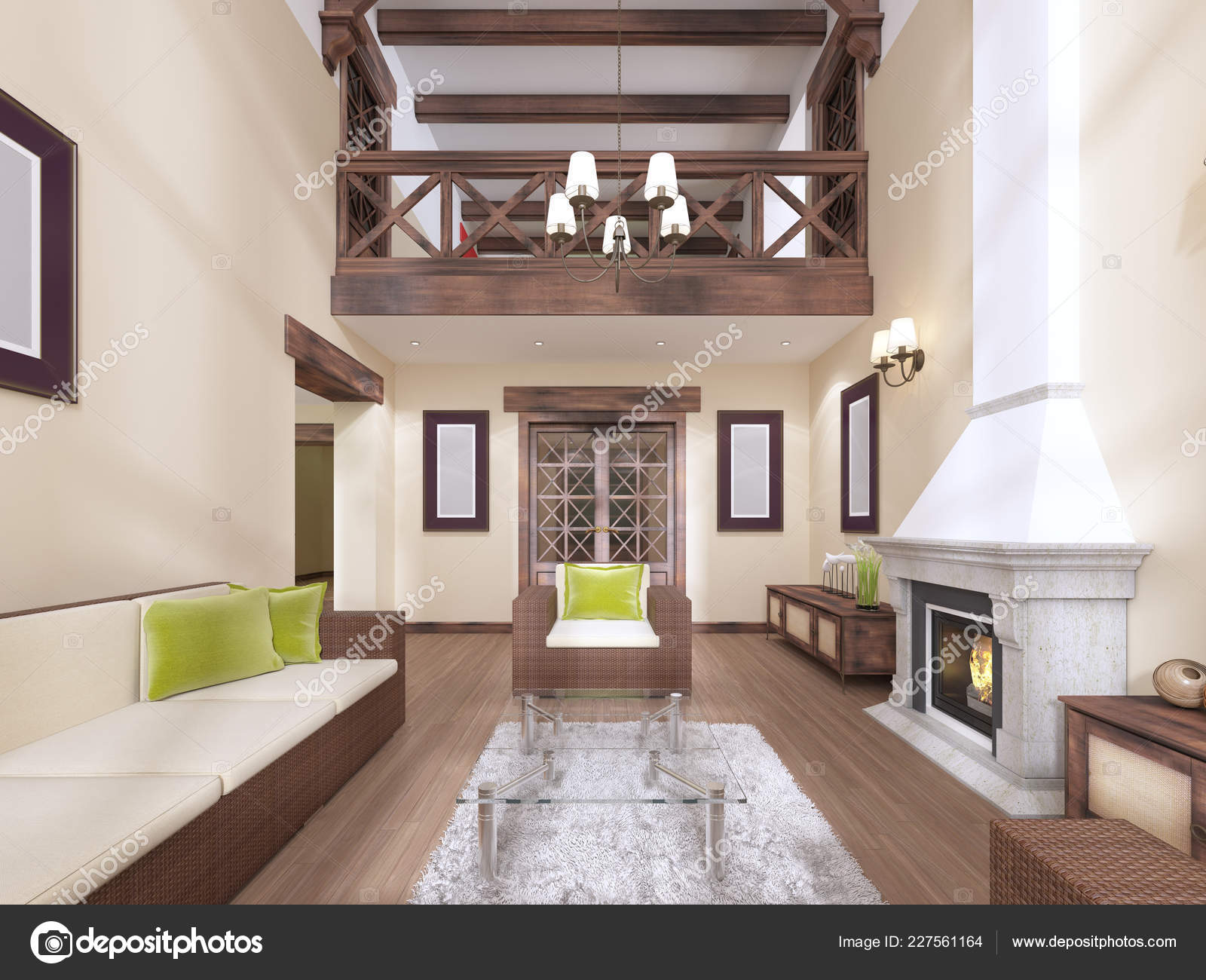 Interior Modern English Style Fireplace High Ceilings Wooden Beams Rendering Stock Photo C Kuprin33 227561164