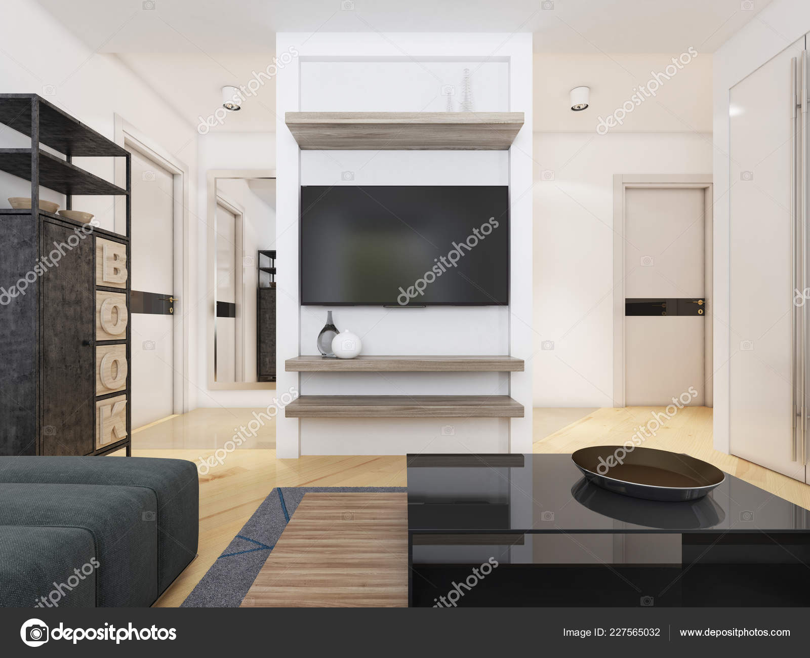 Unit Modern Living Room Rendering Stock Photo Image By C Kuprin33 227565032