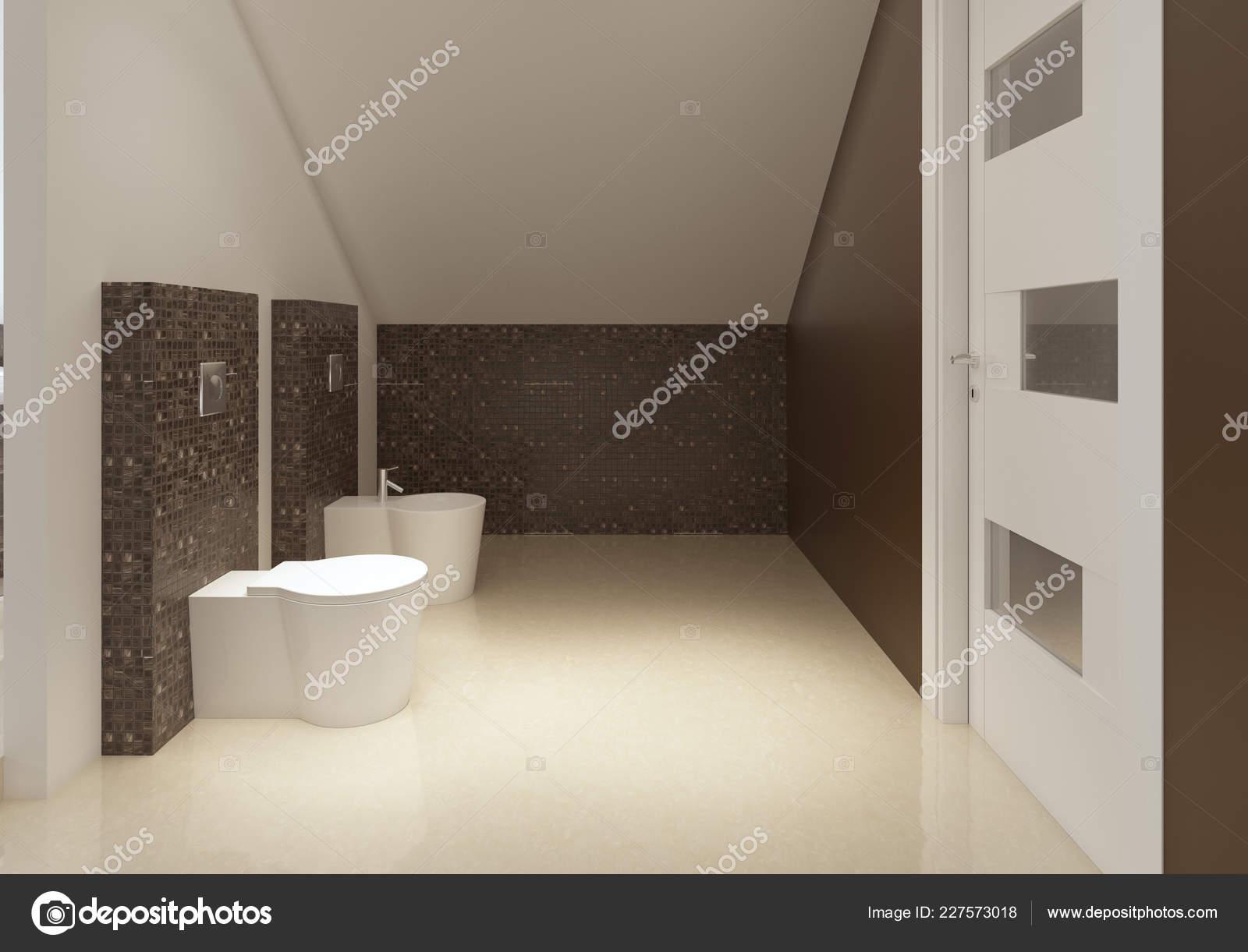 Cuarto Baño Estilo Moderno Colores Blancos Marrón Render ...