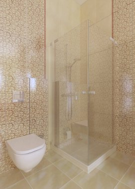 Shower and toilet in the bathroom are yellow. 3D rendering