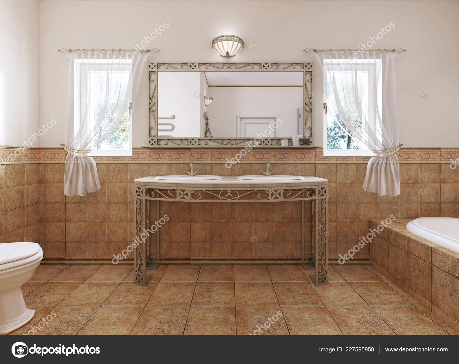 Badezimmer Eitelkeiten Mit Einem Spiegel Und Einem Waschbecken ...
