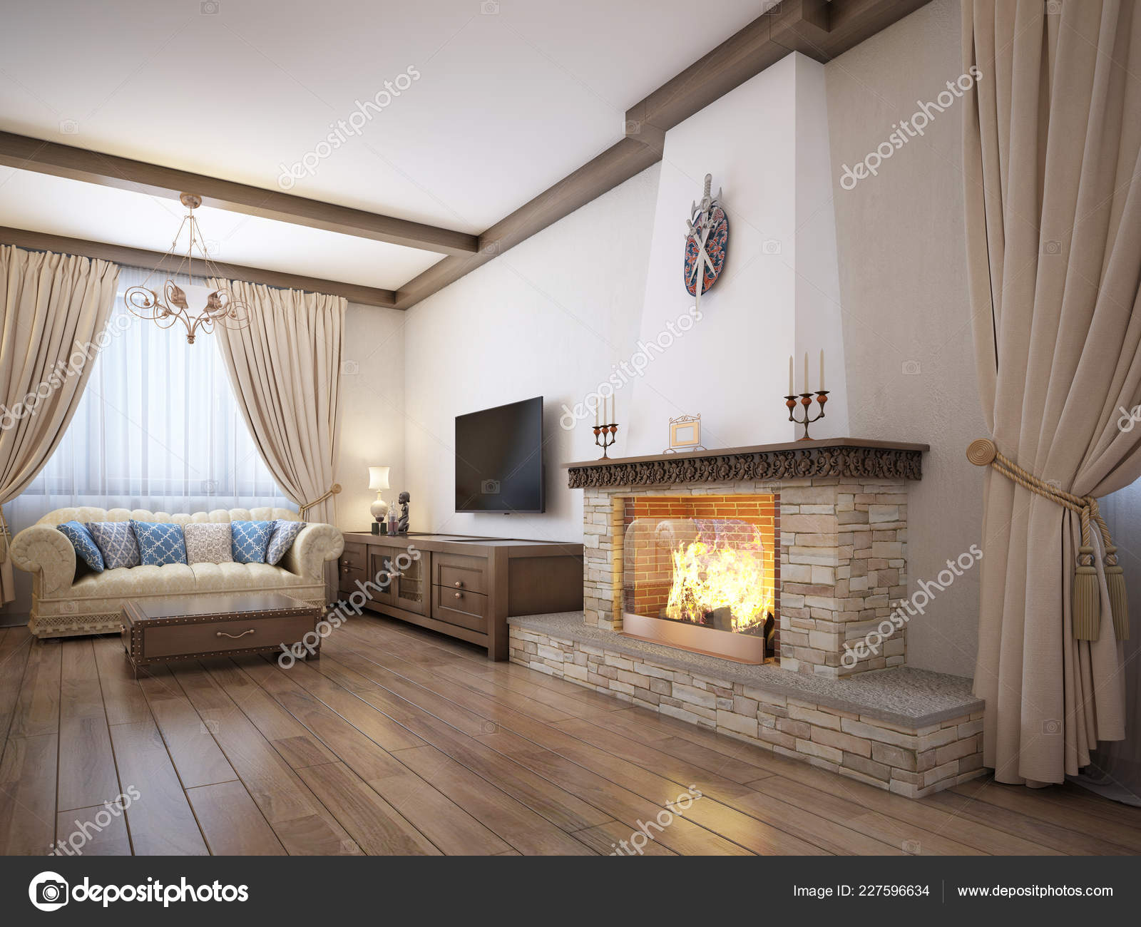Living Room Rustic Style Soft Furniture Large Fireplace