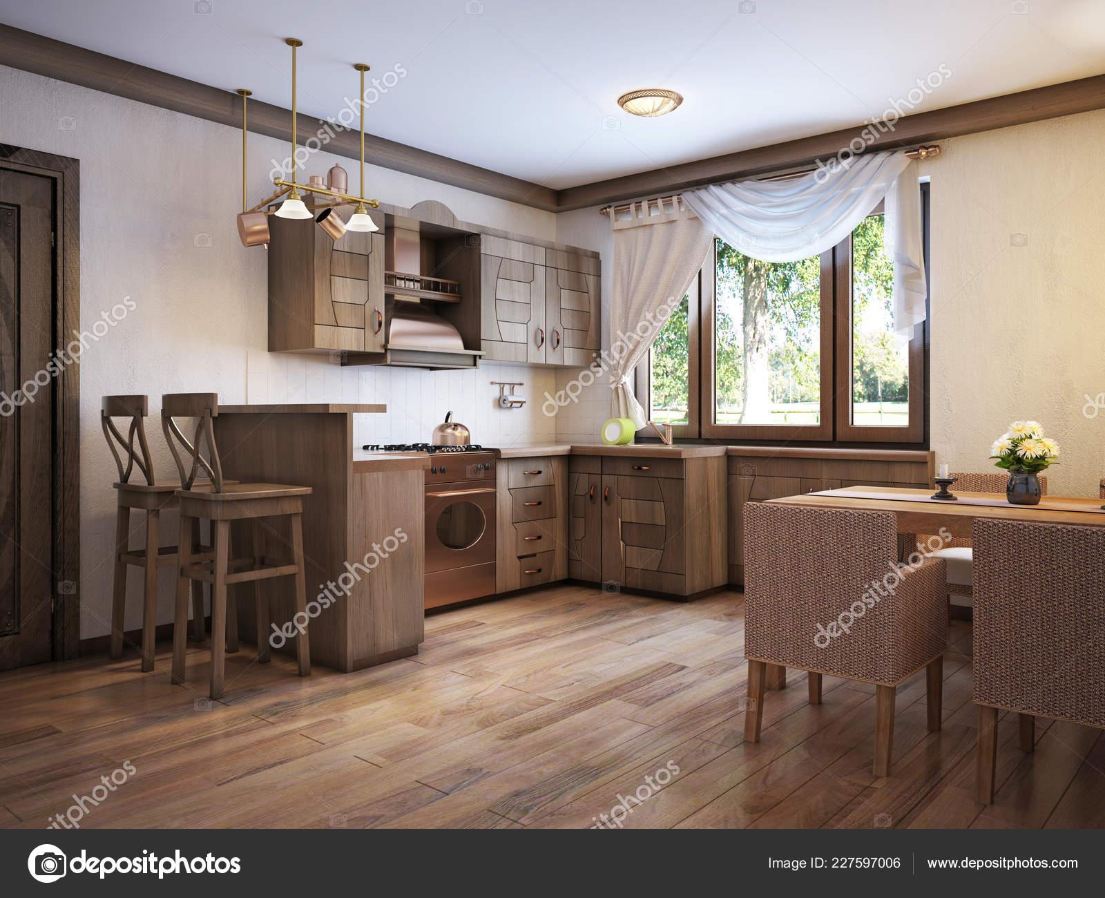 Cucina Stile Rustico Con Tavolo Pranzo Mobili Legno ...