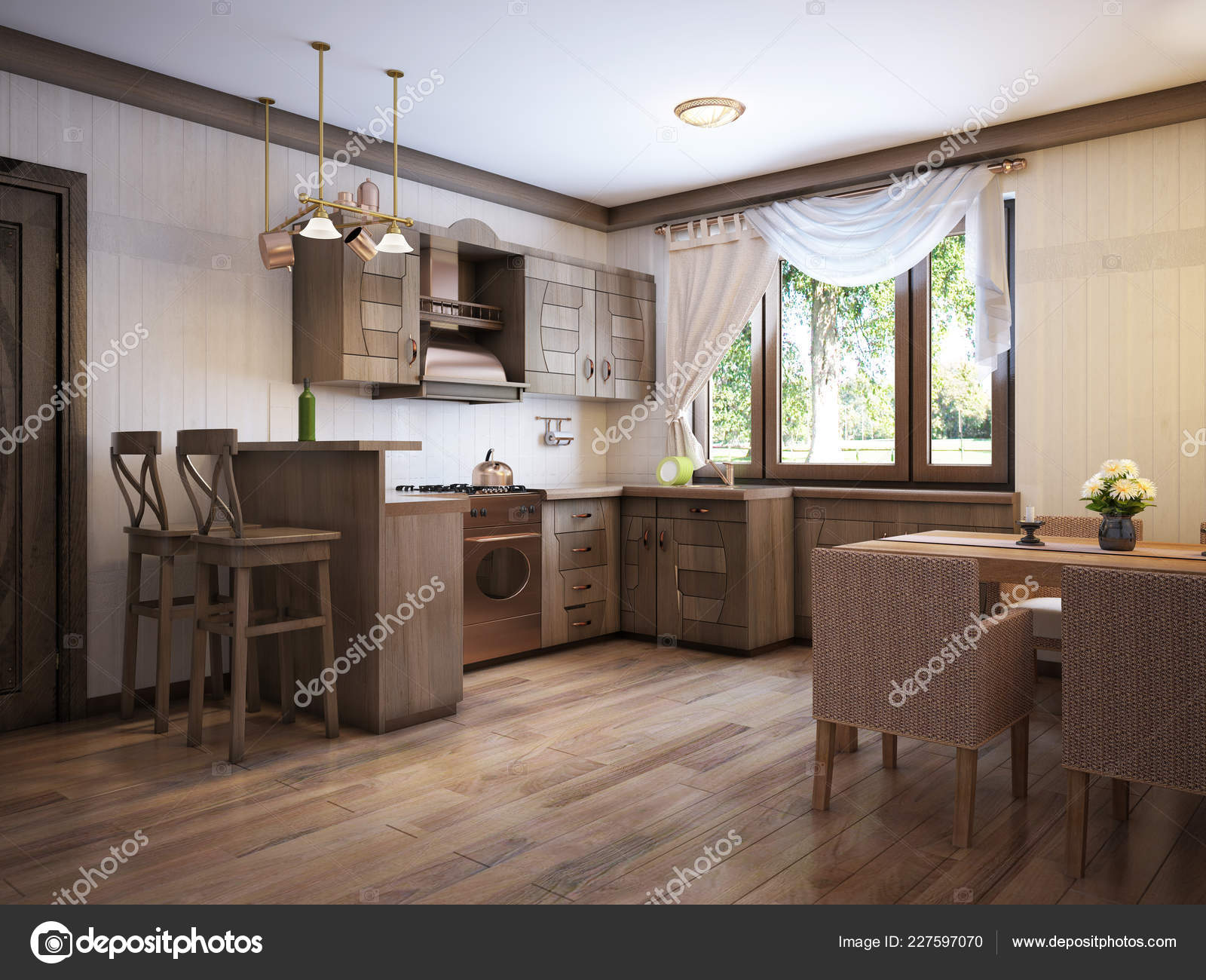 Kitchen Rustic Style Dining Table Wooden Furniture Rendering Stock Photo C Kuprin33 227597070