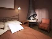 Egy sötét gesztenyebarna hálószoba, rusztikus stílusú, kandallóval, kovácsoltvas ágy. 3D-leképezés.