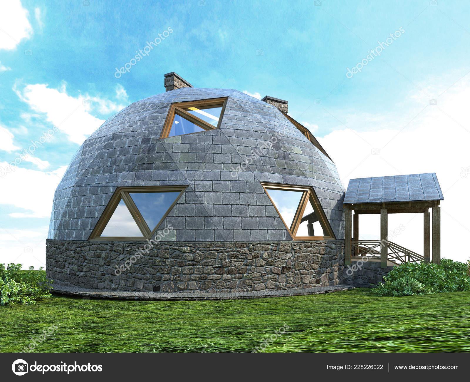 Dôme magnifique maison du futur green design innovation architecture rendu 3d images de stock libres de droits