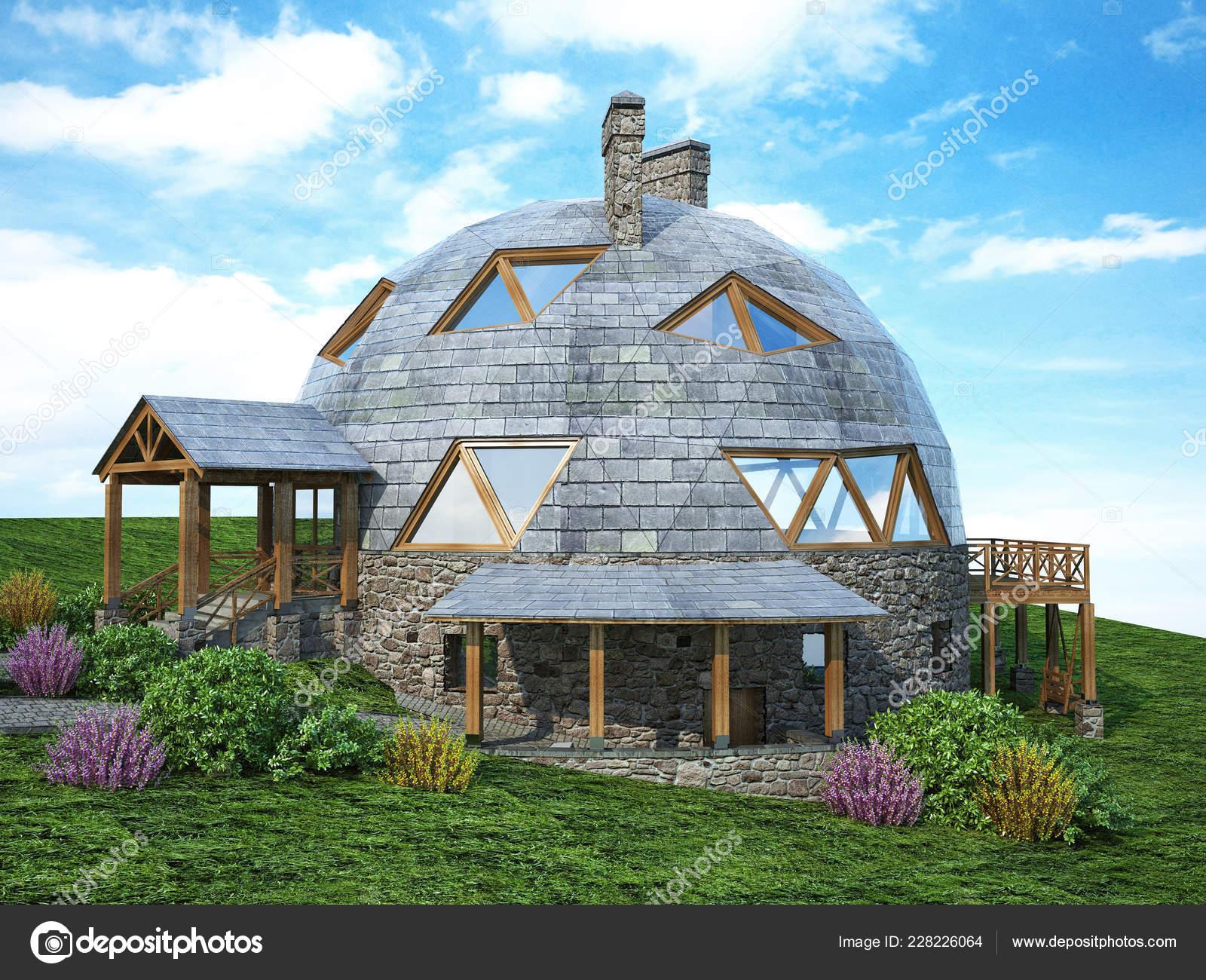 Dôme magnifique maison du futur green design innovation architecture rendu 3d image de