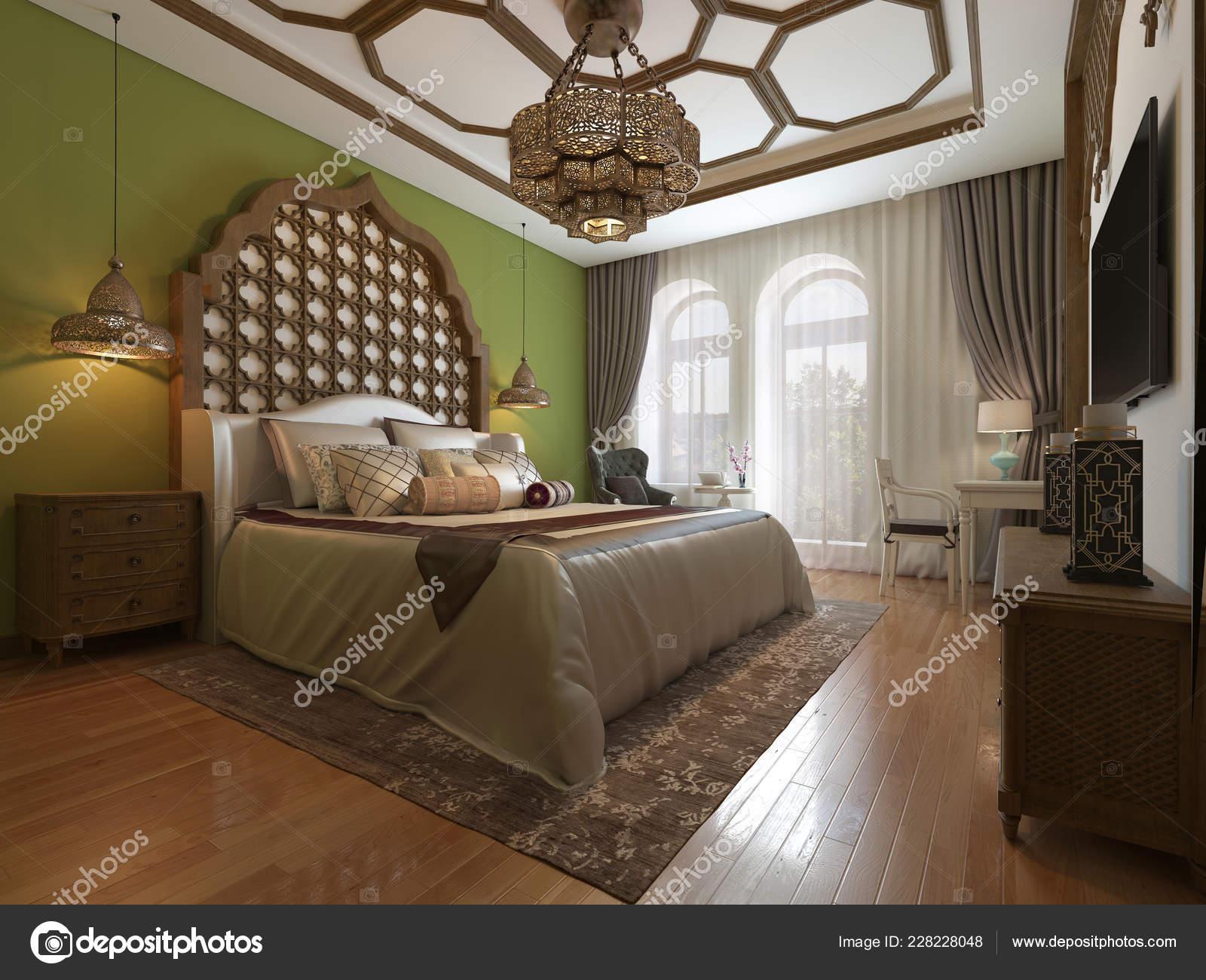 Camere Da Letto Orientale : Camera letto orientale testiera legno pareti verdi mobile porta