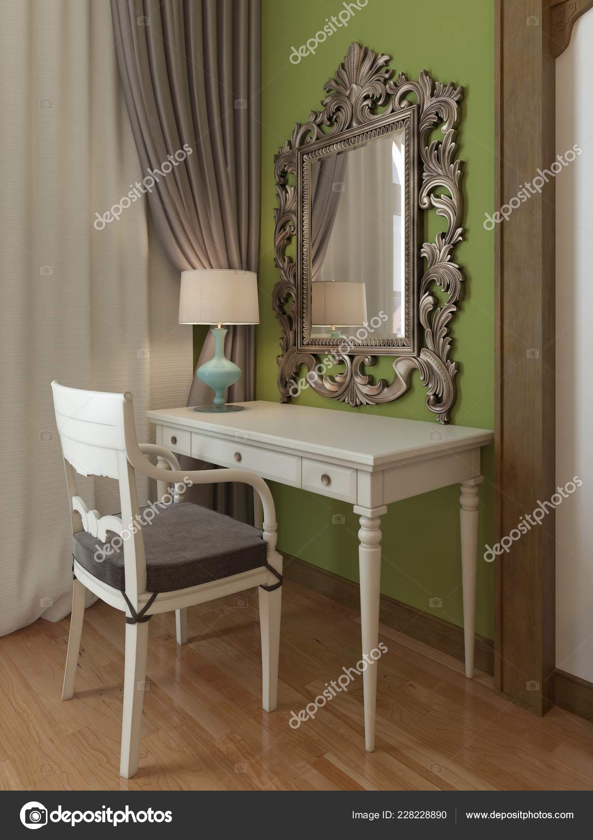 Dressing Table Mirror Bedroom Middle Eastern Design Rendering