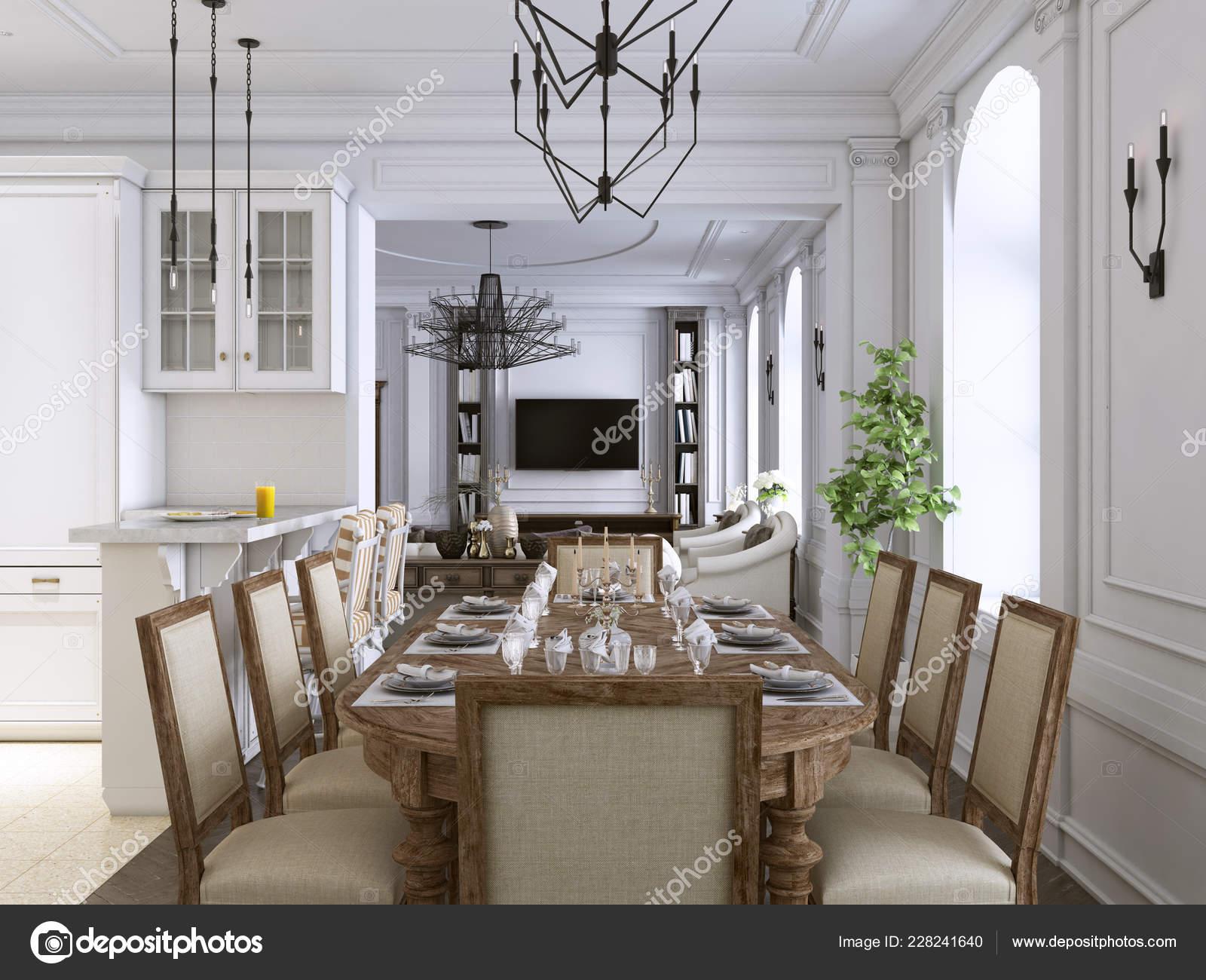 Lujo Clásico Interior Sala Comedor Cocina Salón Con Muebles ...