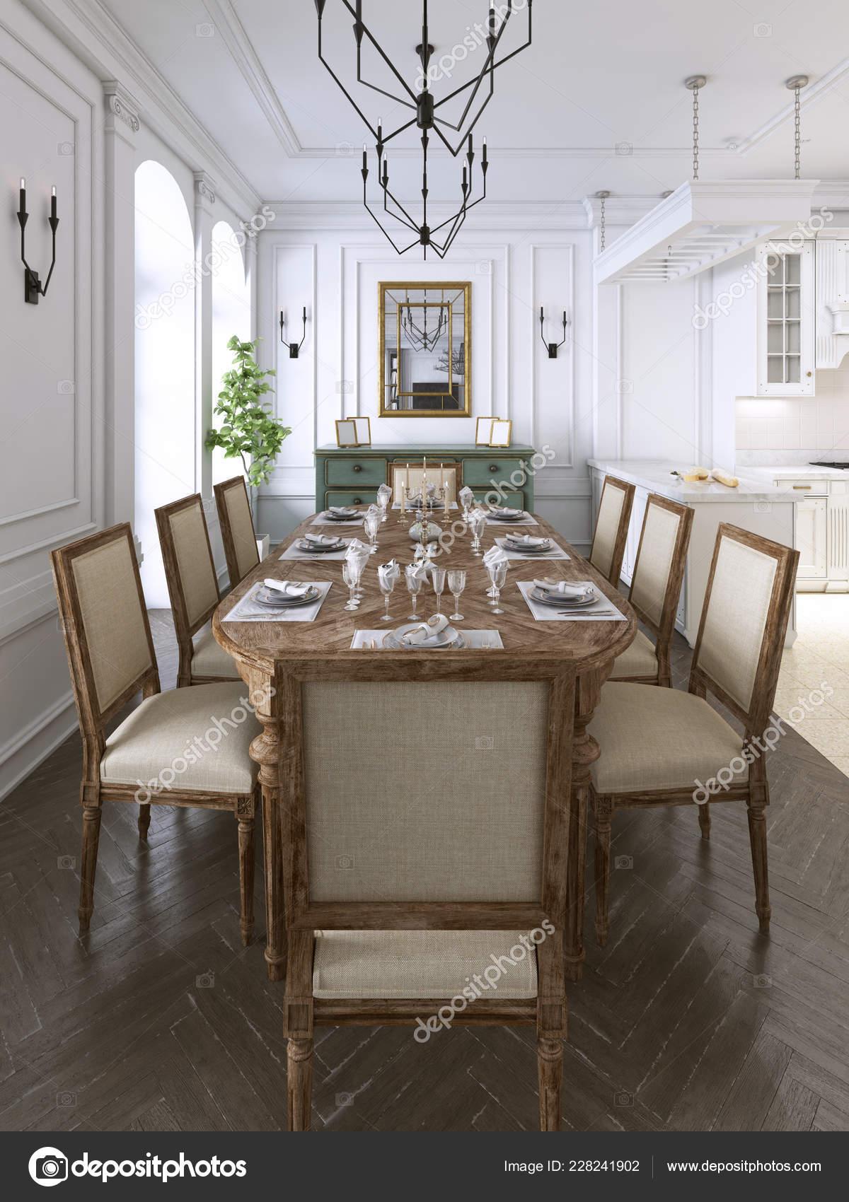 Luksusowy Klasyczny Wystrój Wnętrz Jadalnia Kuchnia Pokój