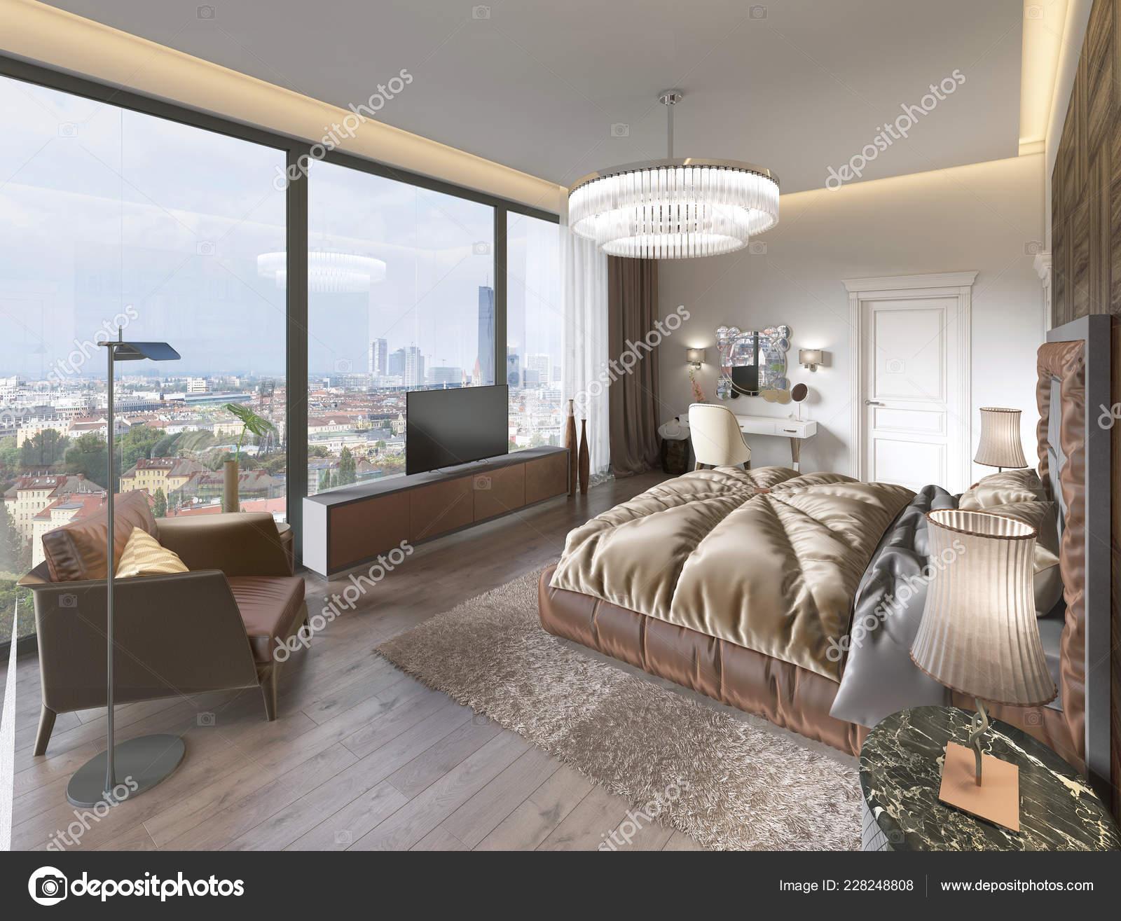 Intérieur Chambre Coucher Confortable Marron Beige Rendu ...
