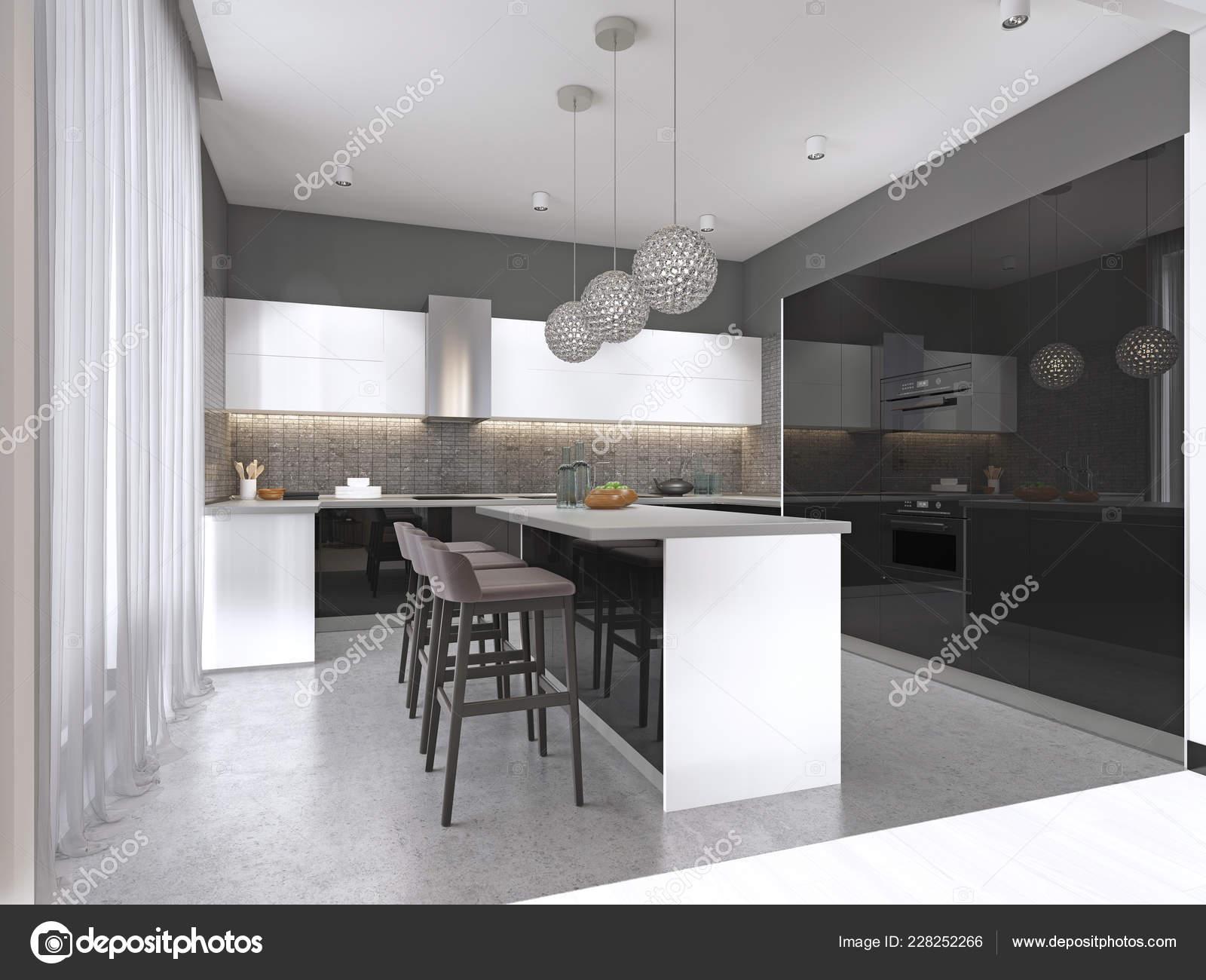 Contemporary Kitchen Black Glossy Facade Island Bar Stools ...