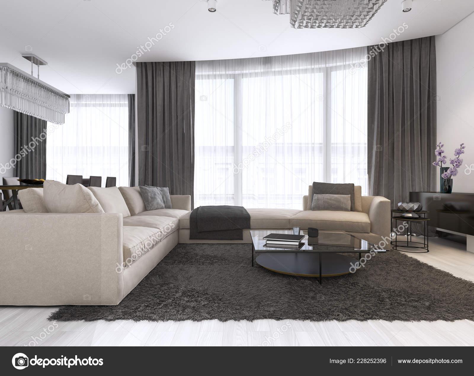 Décoration Design Salon Contemporain Rendu — Photographie ...