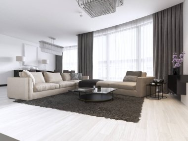decoration and design of contemporary living room. 3d rendering