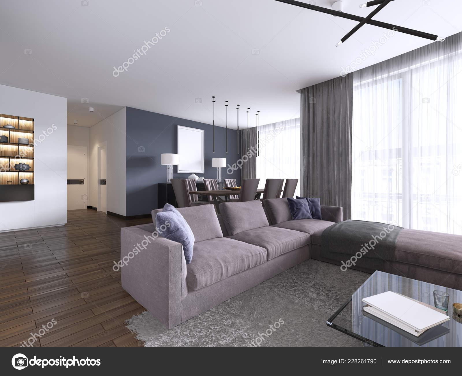 Chic Living Room Filled Built Cabinets Violet Corner Sofa ...