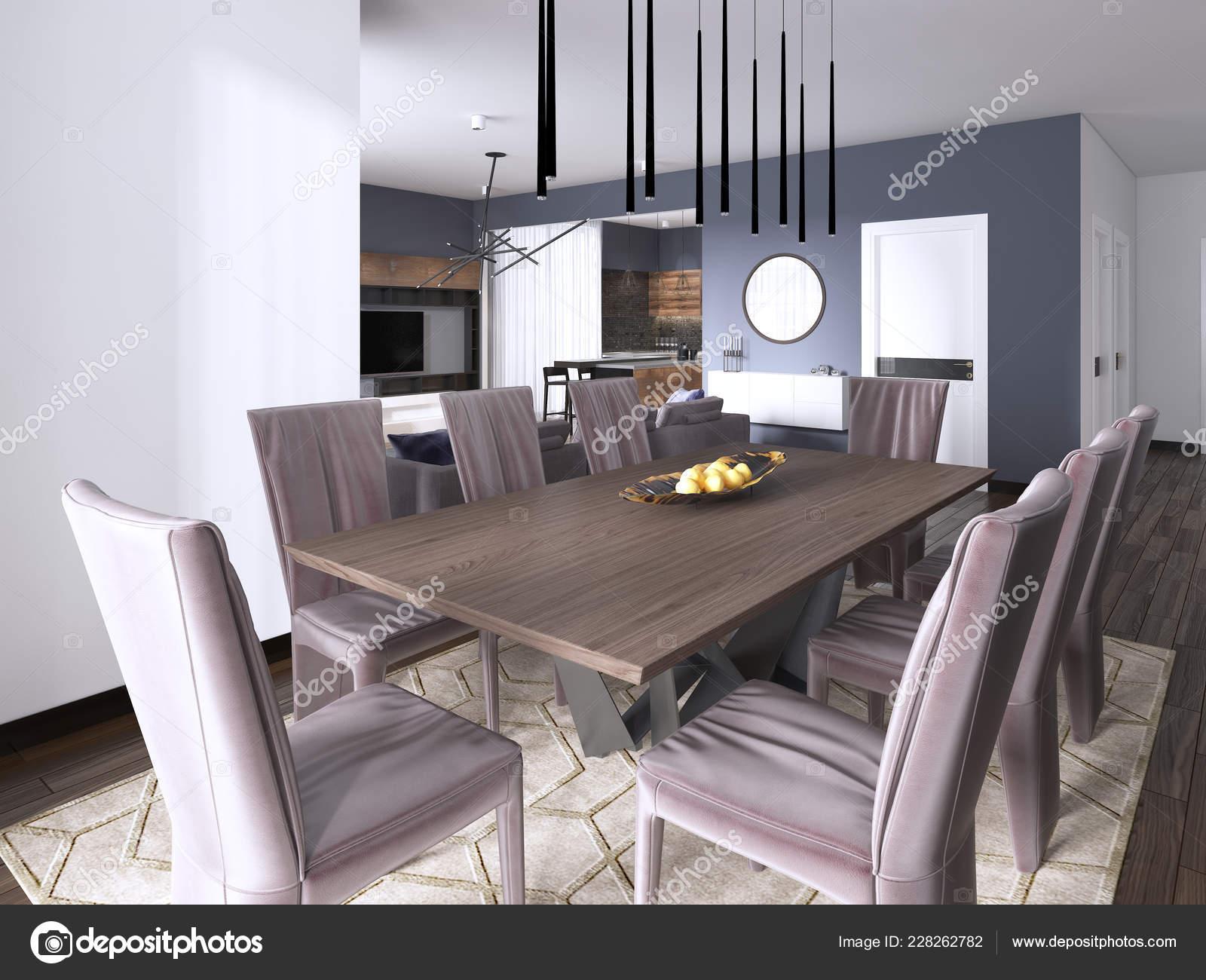 Luxe Eetkamer Set.Dining Set Modern Luxury Brown Dining Room Rendering Stock Photo