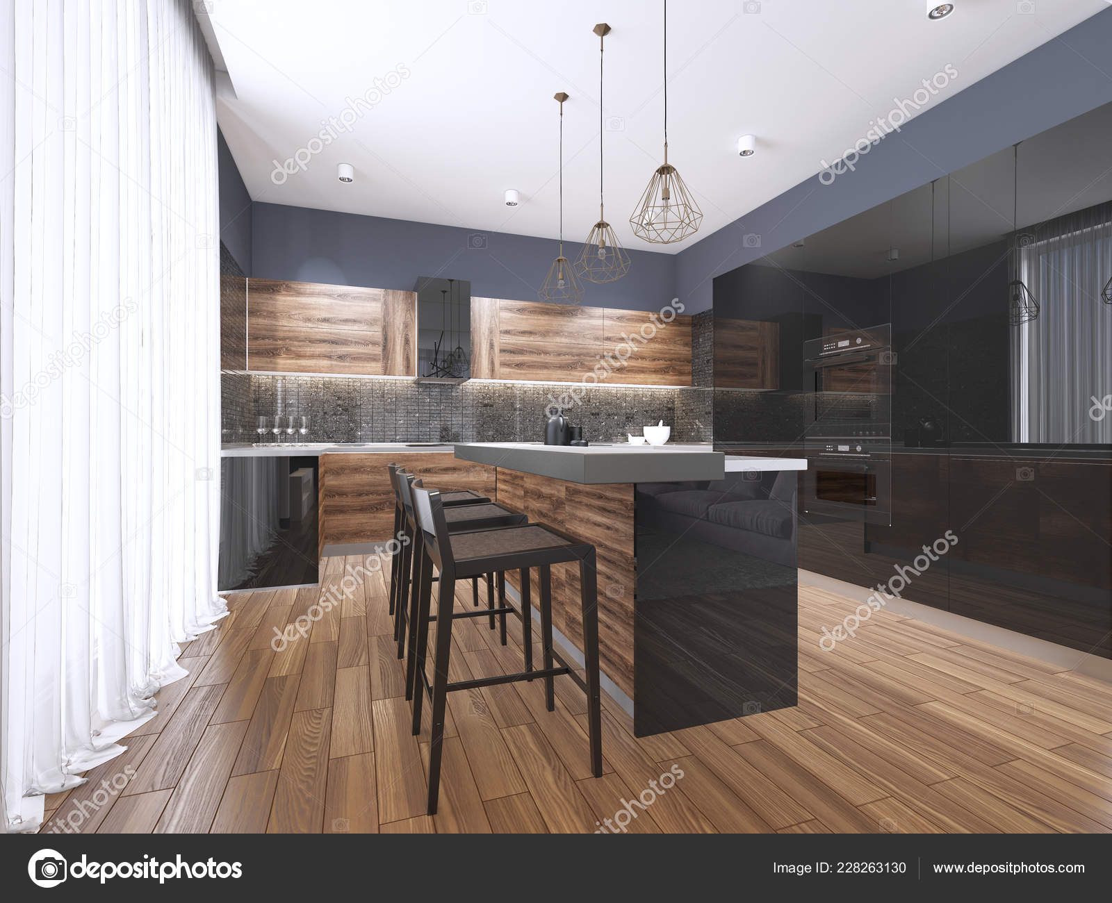 Sensational Pics Black Kitchen Cabinets Modern Kitchen Wood Gloss Home Interior And Landscaping Mentranervesignezvosmurscom