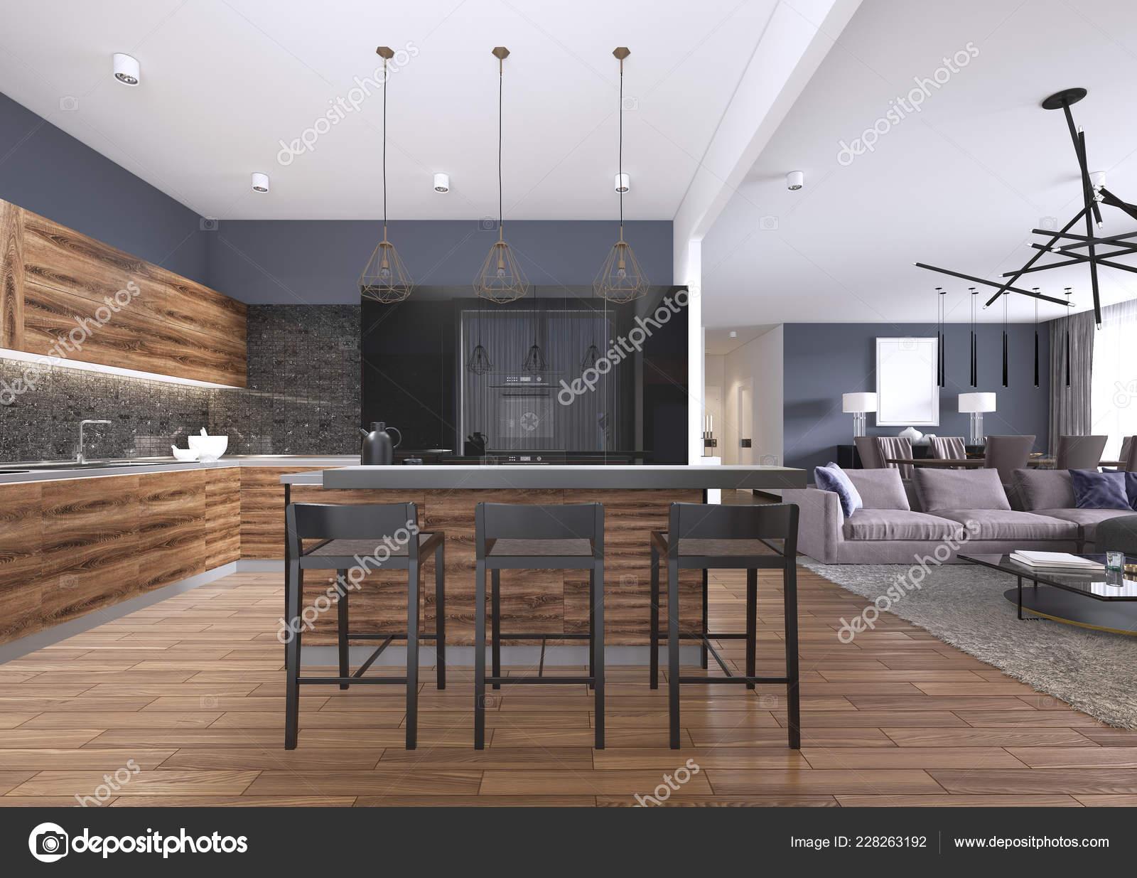 Moderne Küche Mit Holz Und Hochglanz Schwarz Küche Kabinette ...