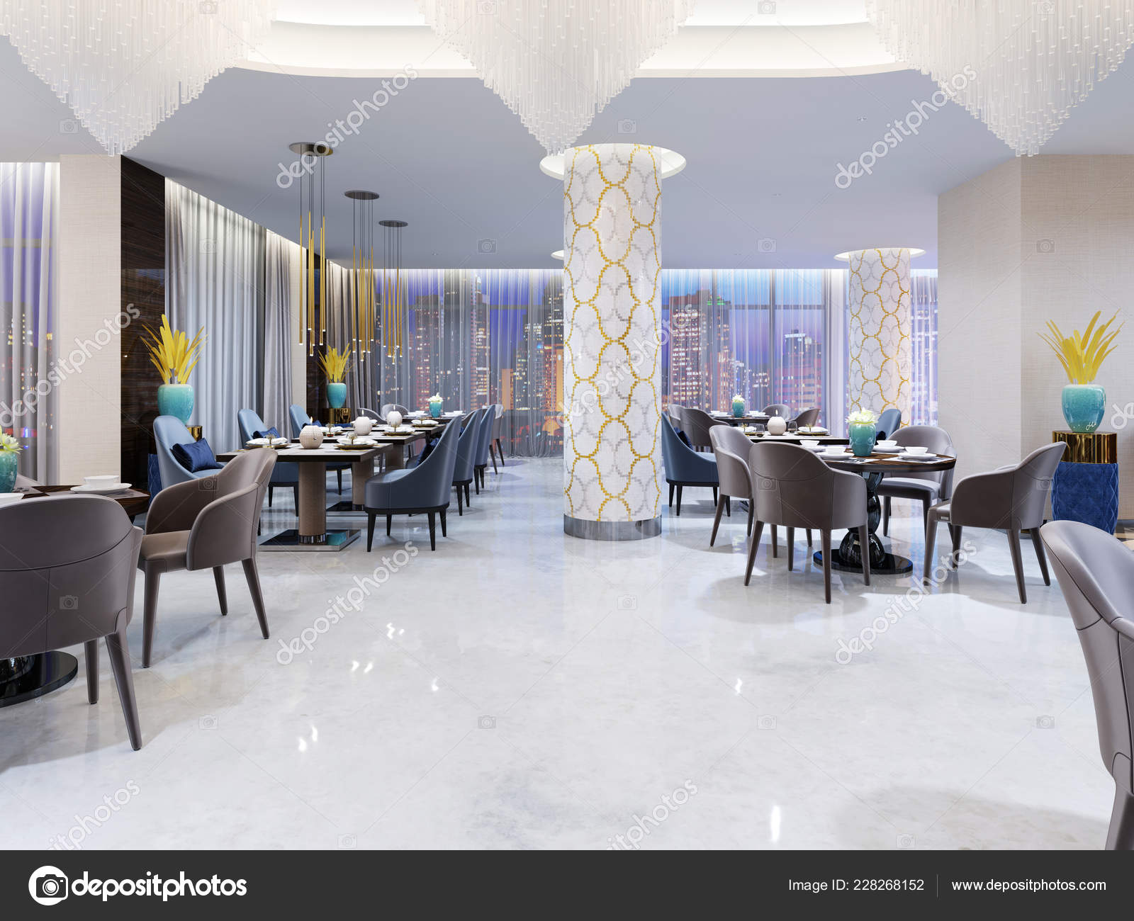 Restaurant Lounge Area Modern Hotel Rendering Stock Photo C Kuprin33 228268152