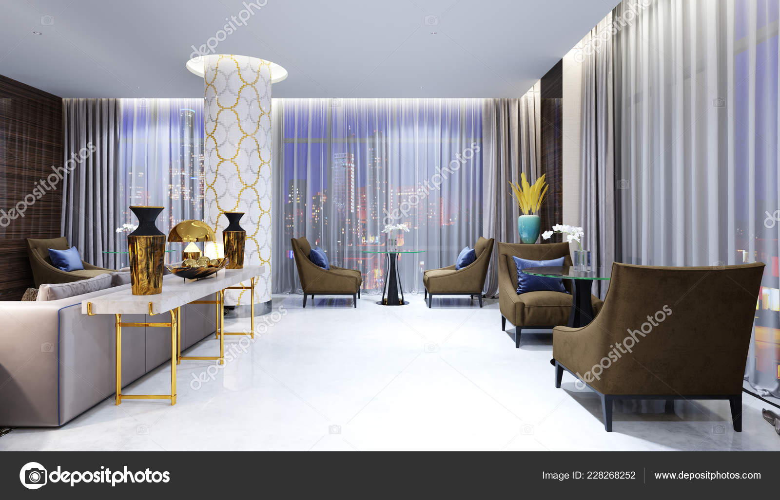 Restaurant Lounge Area Modern Hotel Rendering — Stock Photo ...