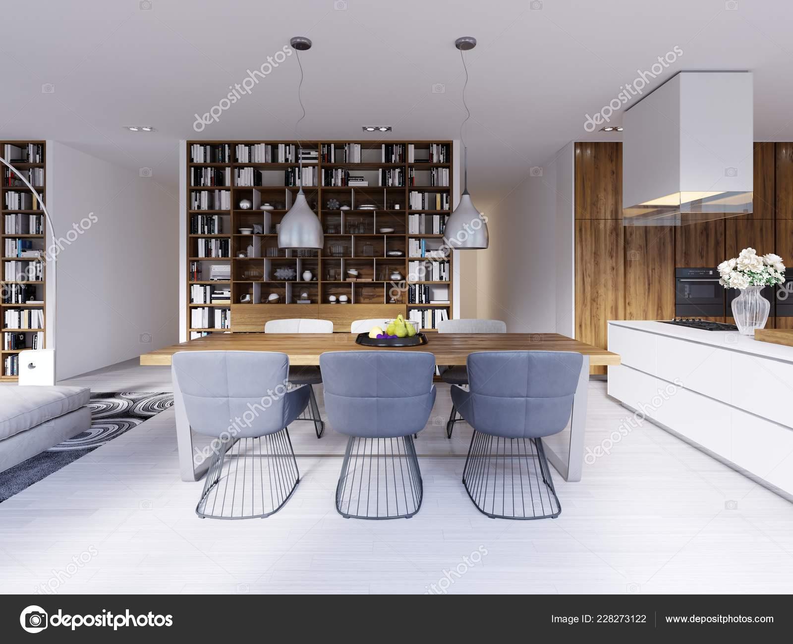 Salle Manger Style Scandinave Belle Maison Moderne Rendu ...