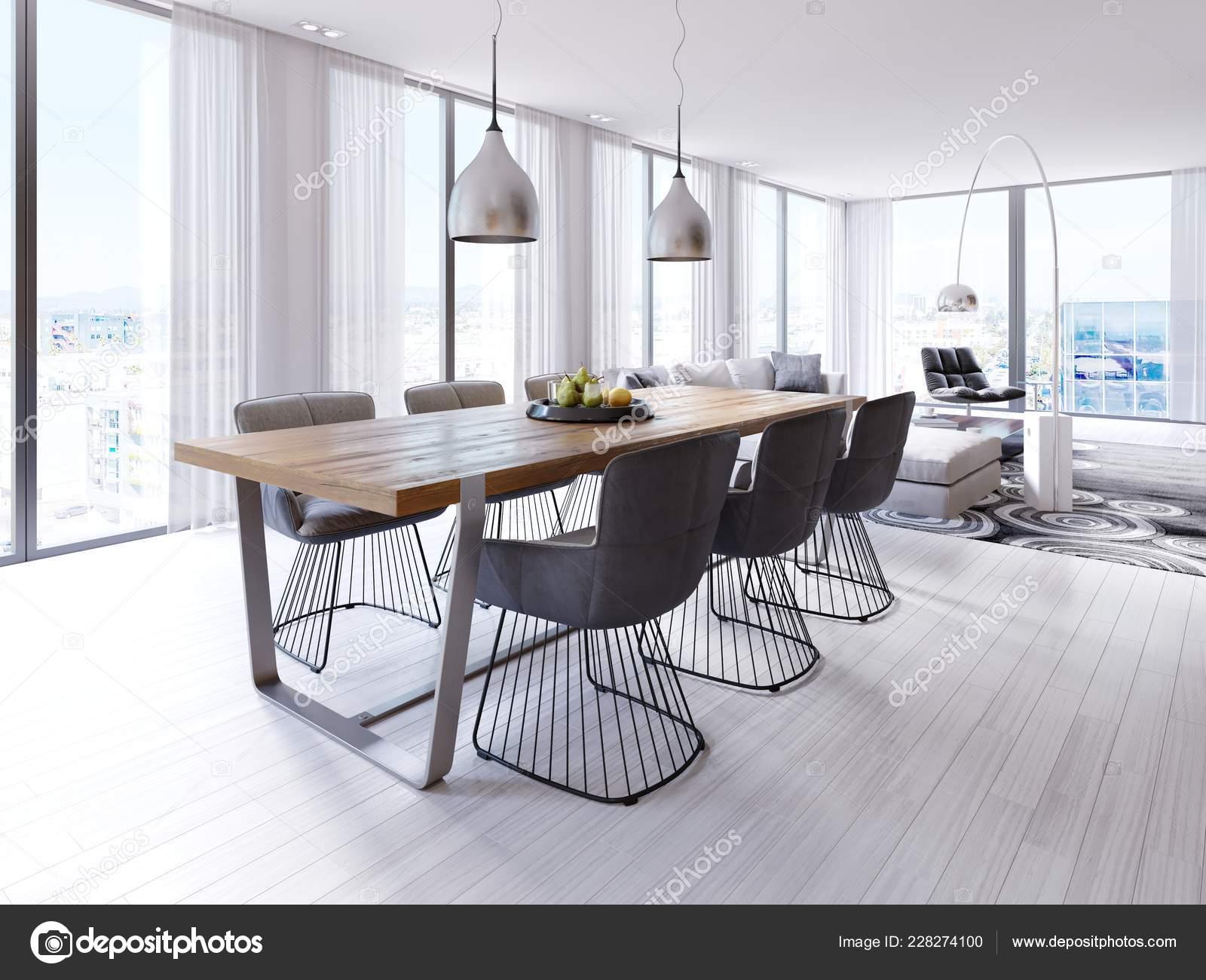 Diseño Mesa Comedor Apartamento Tipo Loft Con Gran Colgante Lámparas ...