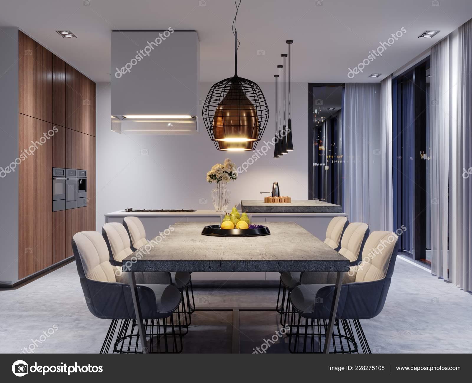 Large Dining Table Concrete Worktop Large Designer Hanging Lamps Six Stock Photo C Kuprin33 228275108