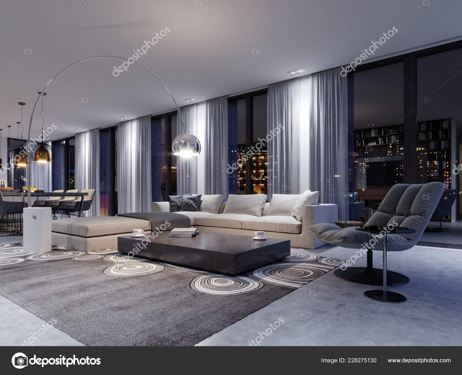 Spacious Living Room Huge Sofa Luxury, Living Room Luxury