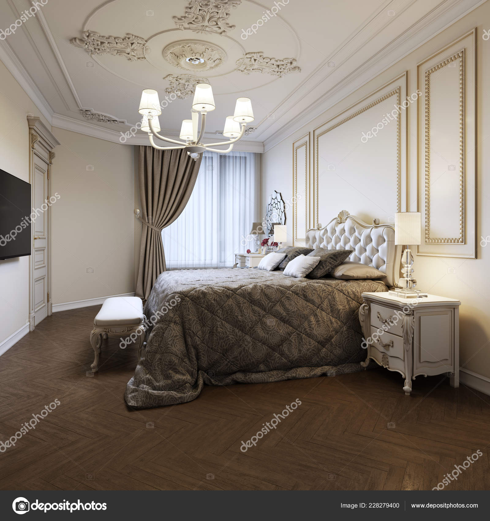 Urban Contemporary Modern Classic Traditional Bedroom Interior Design with  beige walls, Elegant furniture and bed linen. 15d rendering 15