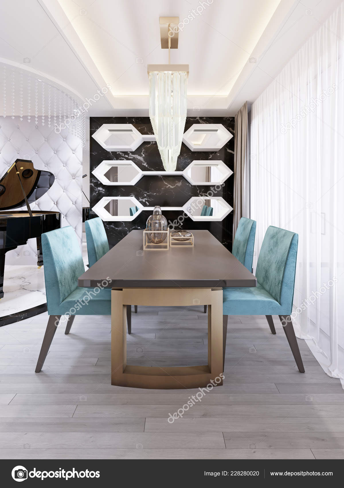 Bright Dining Room Contemporary Style Designer Dining Table