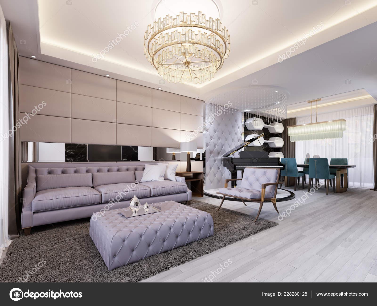 Moderno Salón Clásico Con Cuero Pared Espejo Comedor Con Mesa — Foto ...