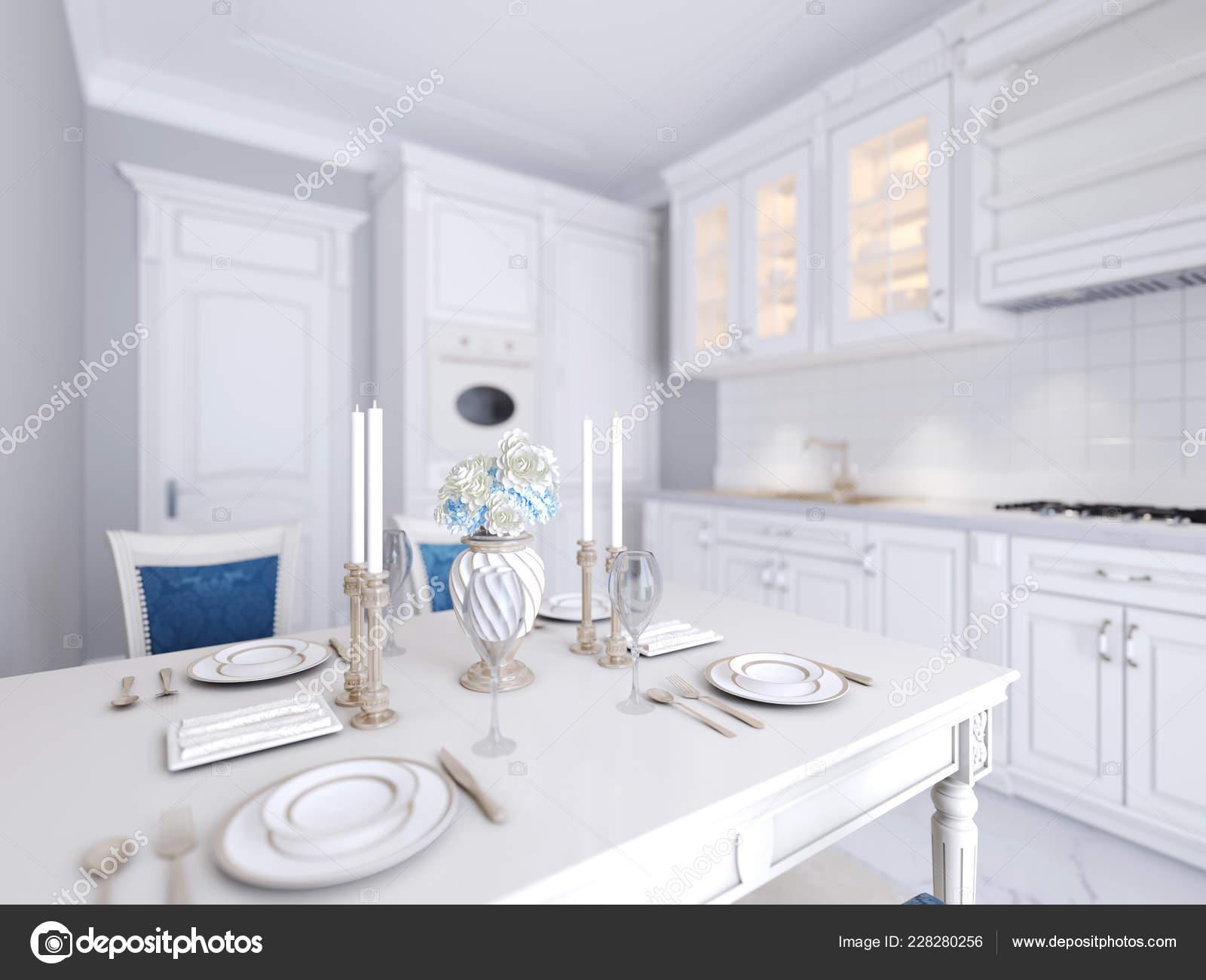 Cucina Bianca Con Tavolo Pranzo Stile Classico Luminoso ...